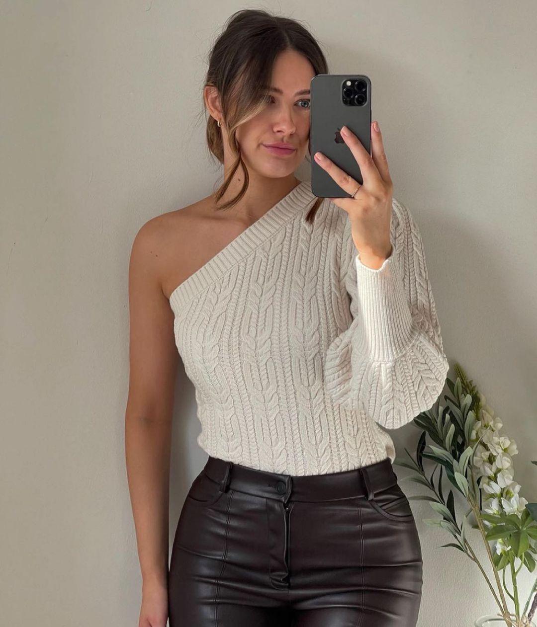 asymmetric knit sweater de Zara sur zara.style.daily