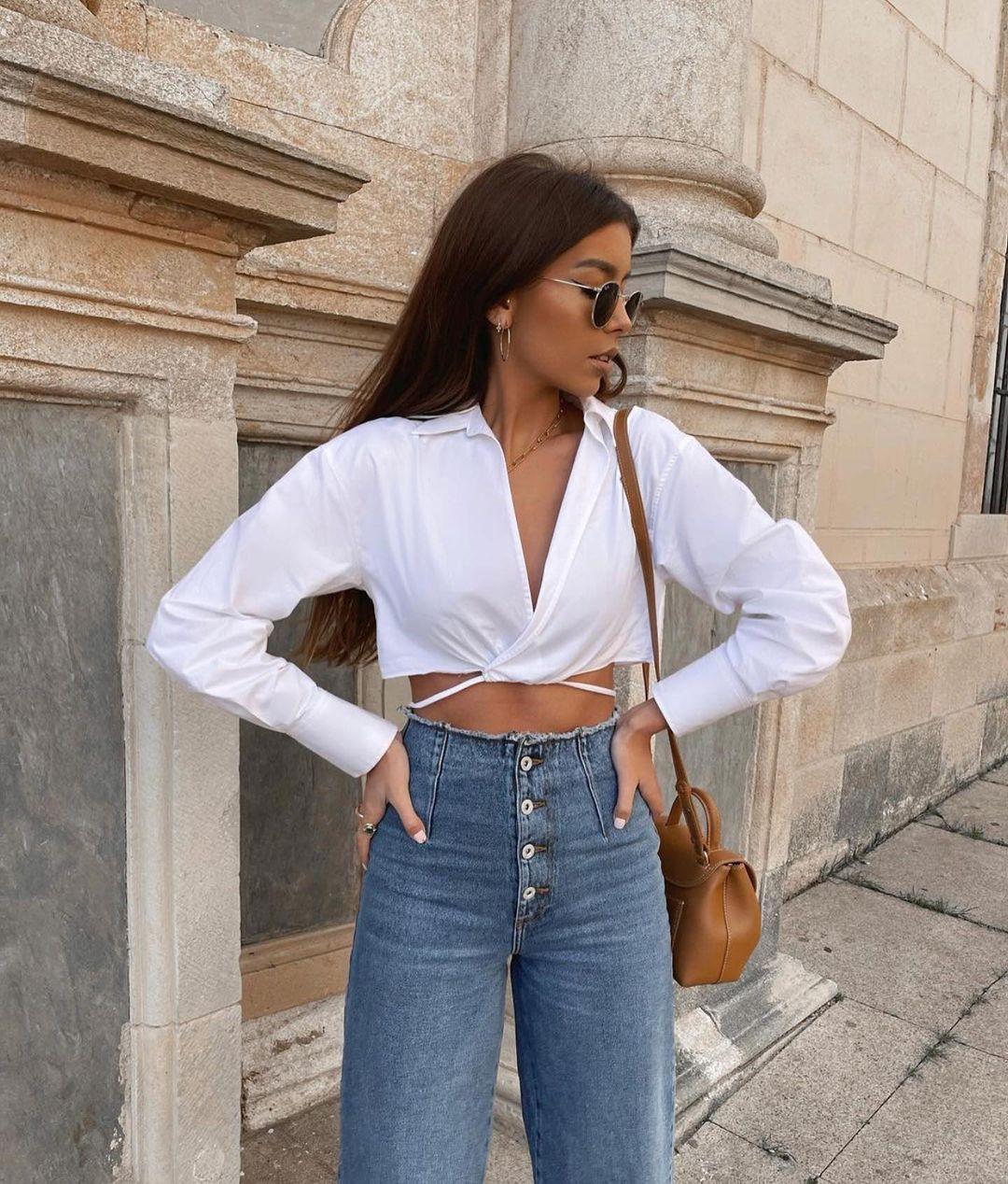 chemise crop cache-cœur avec nœud de Zara sur zara.outfits