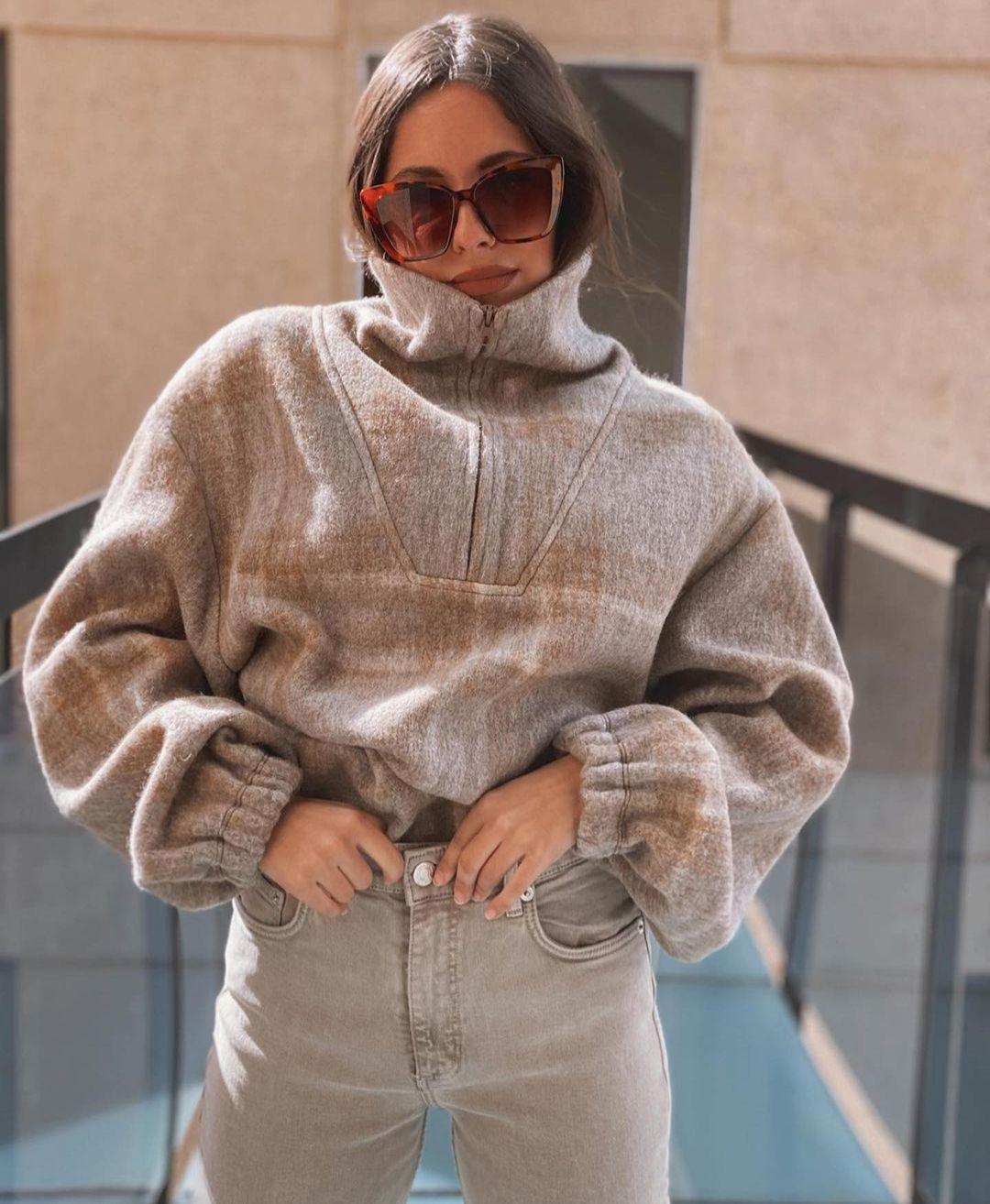 sweatshirt with plaid wool de Zara sur zaraaddiction