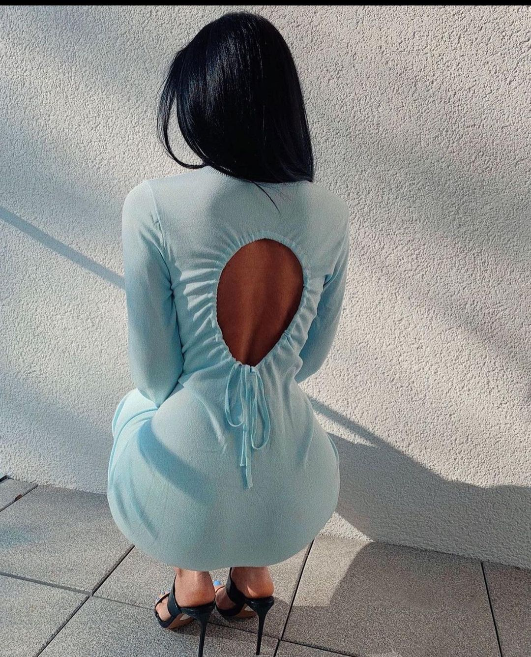 knit dress with open back de Zara sur zaraaddiction