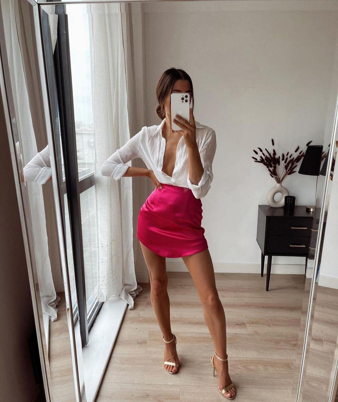 crumpled effect satin skirt de Zara sur zaraaddiction