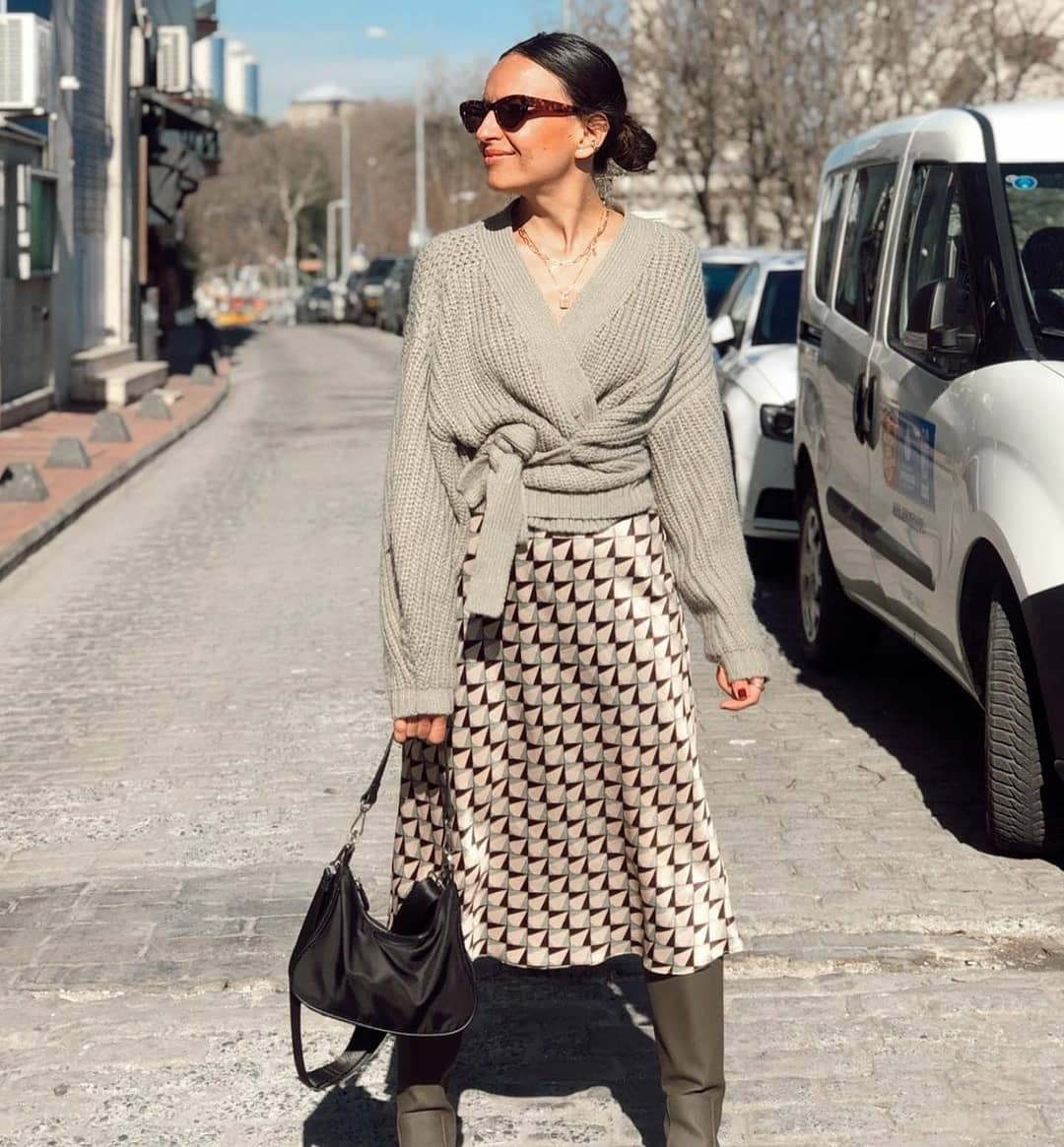 knitted cardigan with bow de Zara sur mangooutfits