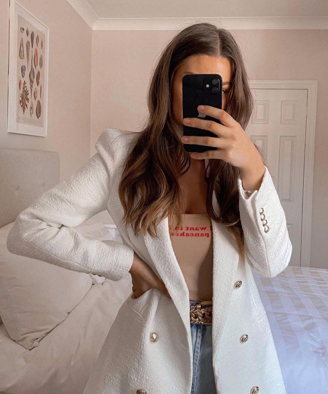 blazer long structuré de Zara sur zara.outfits