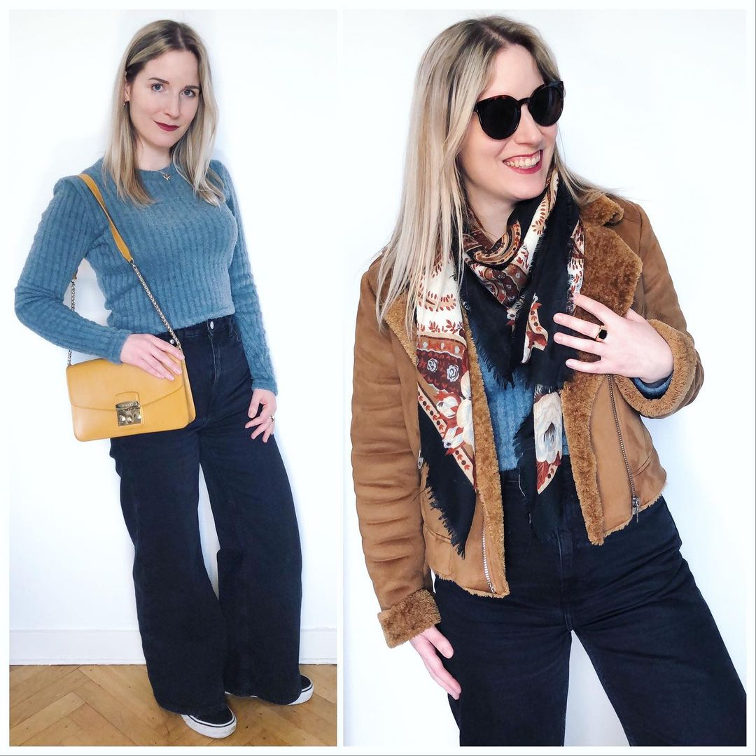 blue ribbed knit jumper de Pull and Bear sur ixelloisechic