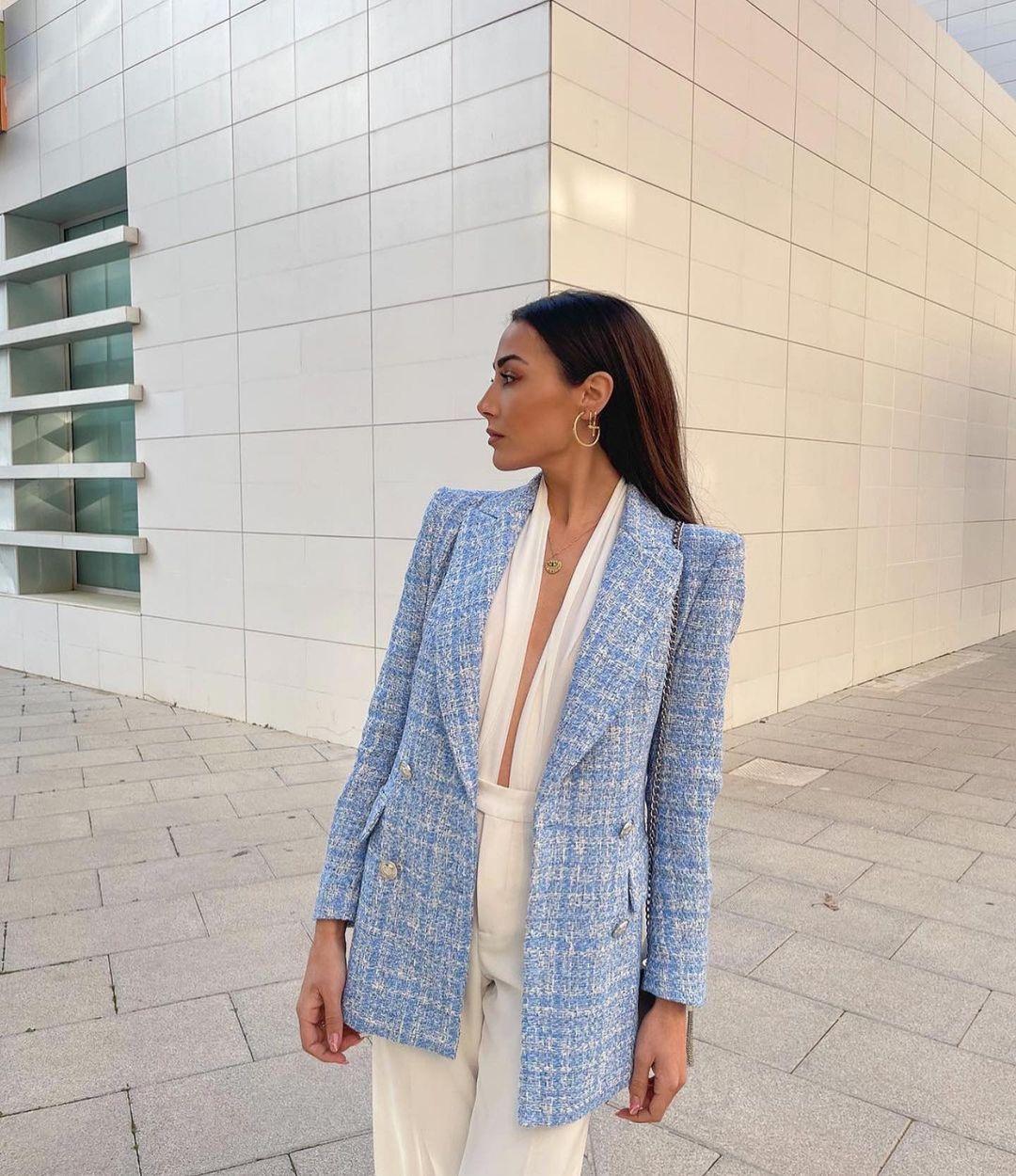 plaid structured blazer de Zara sur zaraaddiction