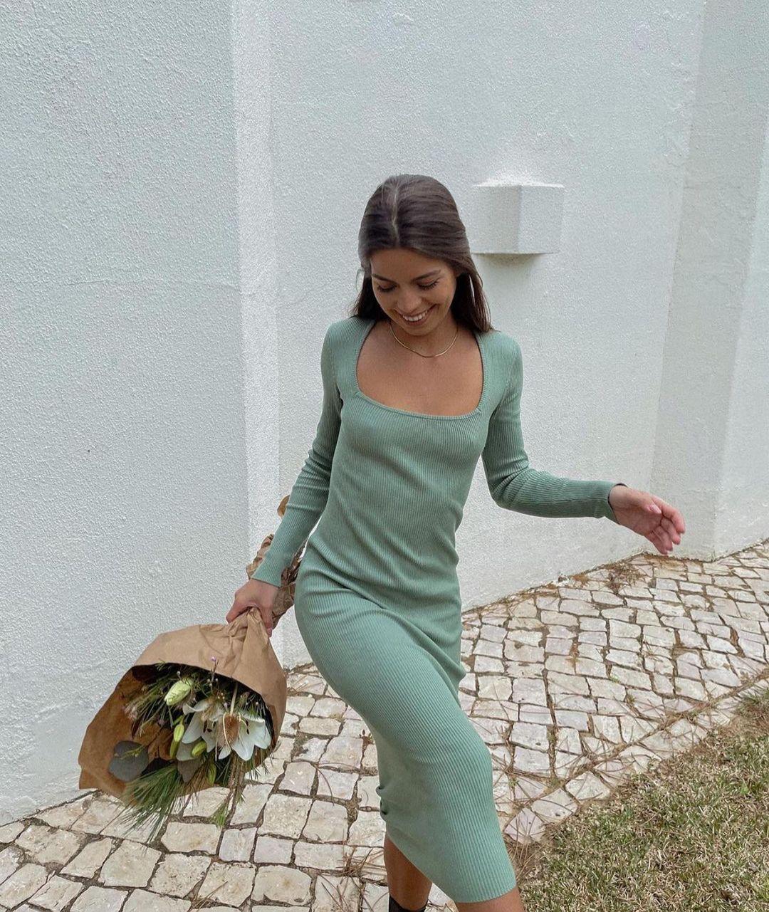 strapless midi dress de Zara sur zaraaddiction