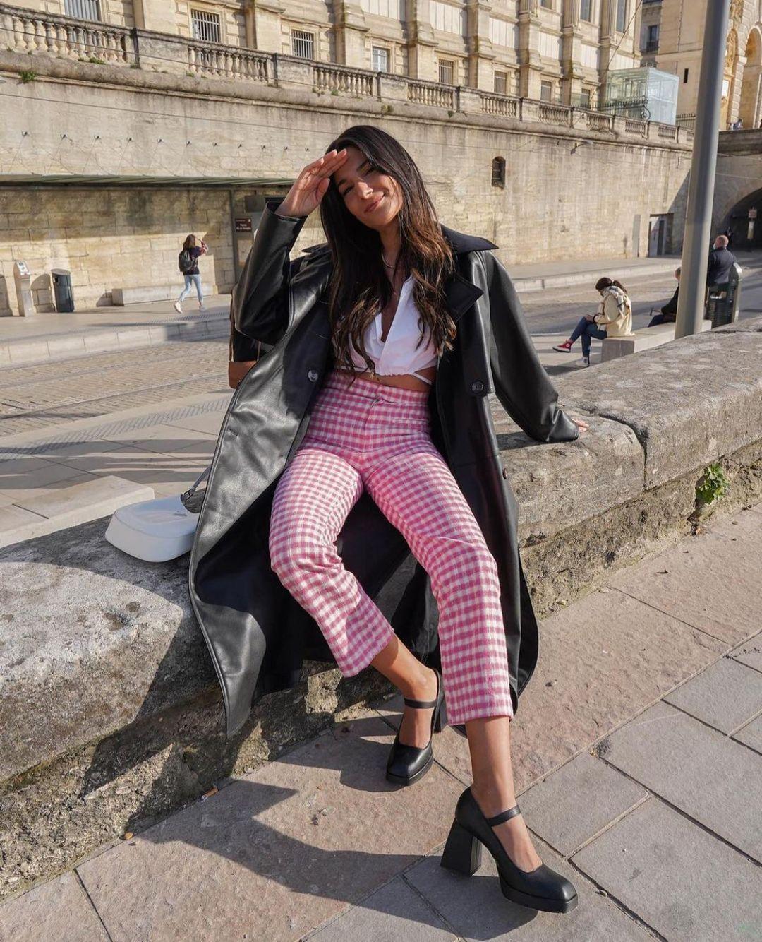 gingham plaid mini flare pants de Zara sur zarastreetstyle