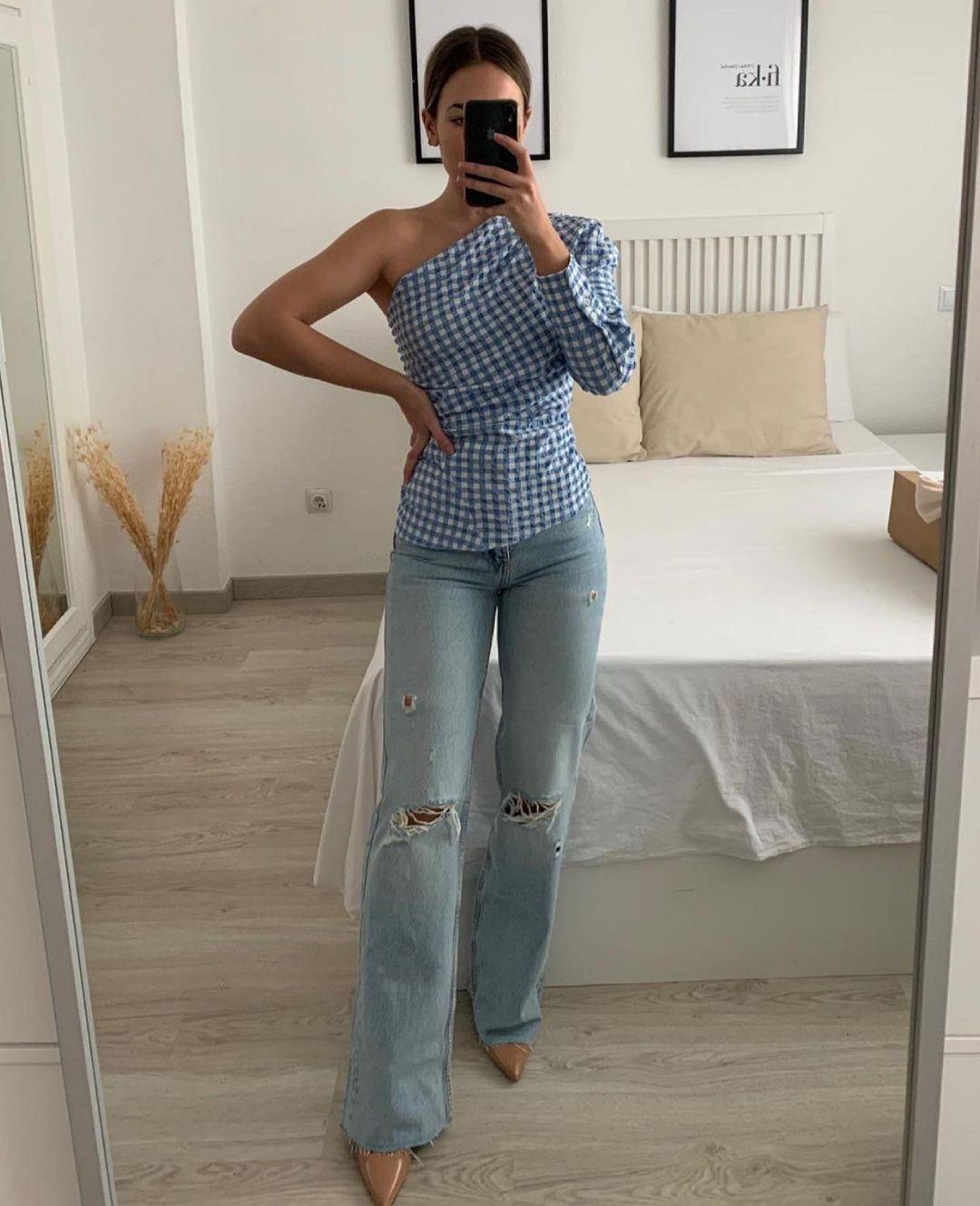 jeans relaxed full length avec déchirures de Zara sur zara.outfits