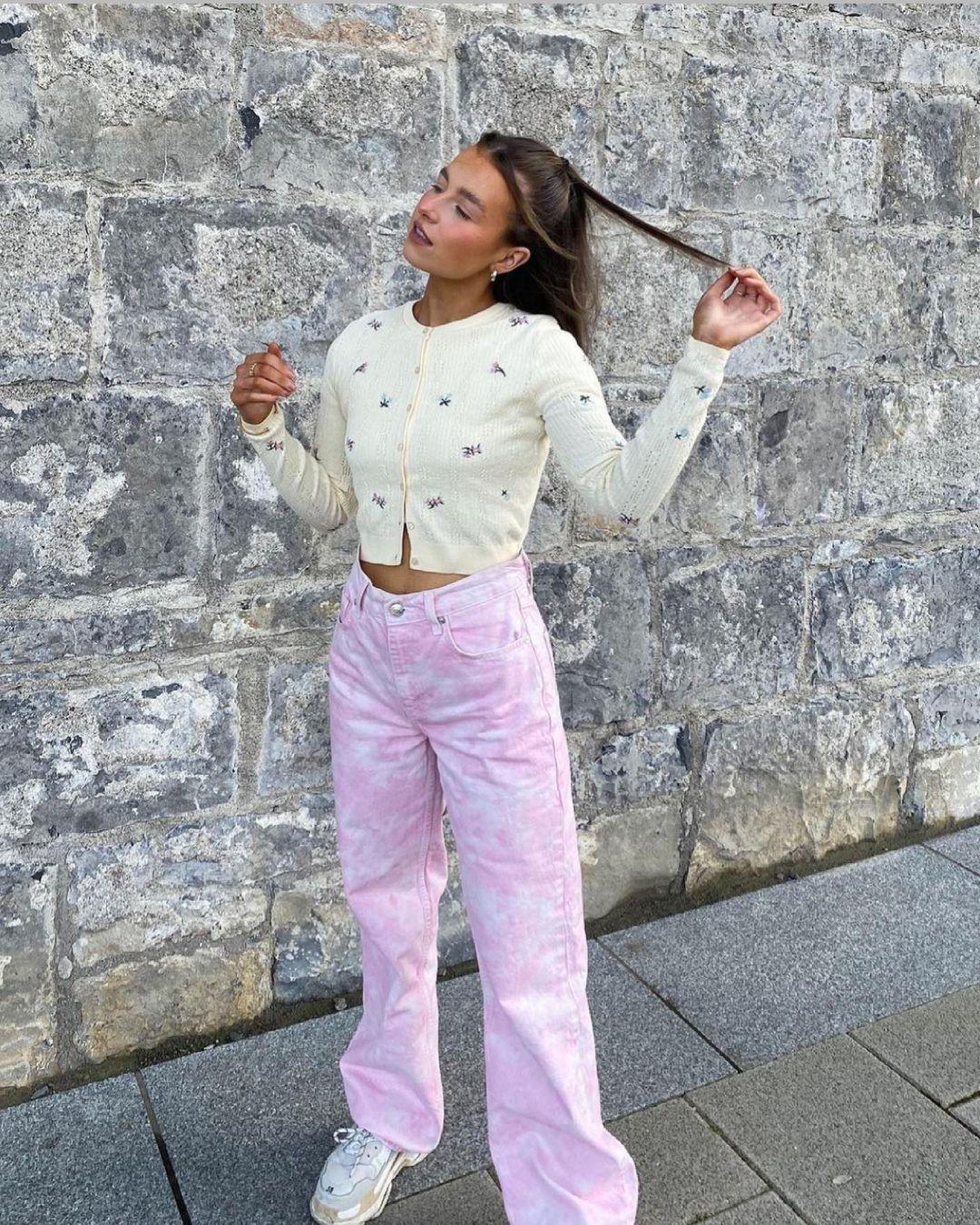 jeans wide leg full length tie dye de Zara sur zara.style.daily