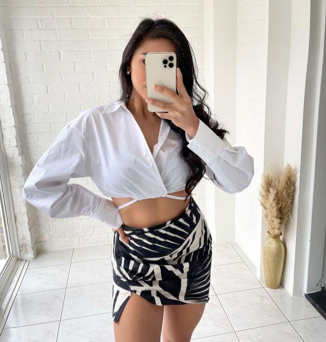jupe drapée imprimée de Zara sur zara.outfits
