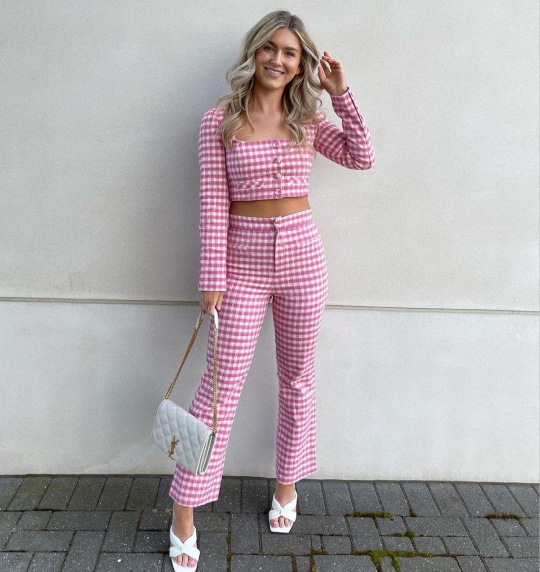 gingham plaid mini flare pants de Zara sur zara.style.daily