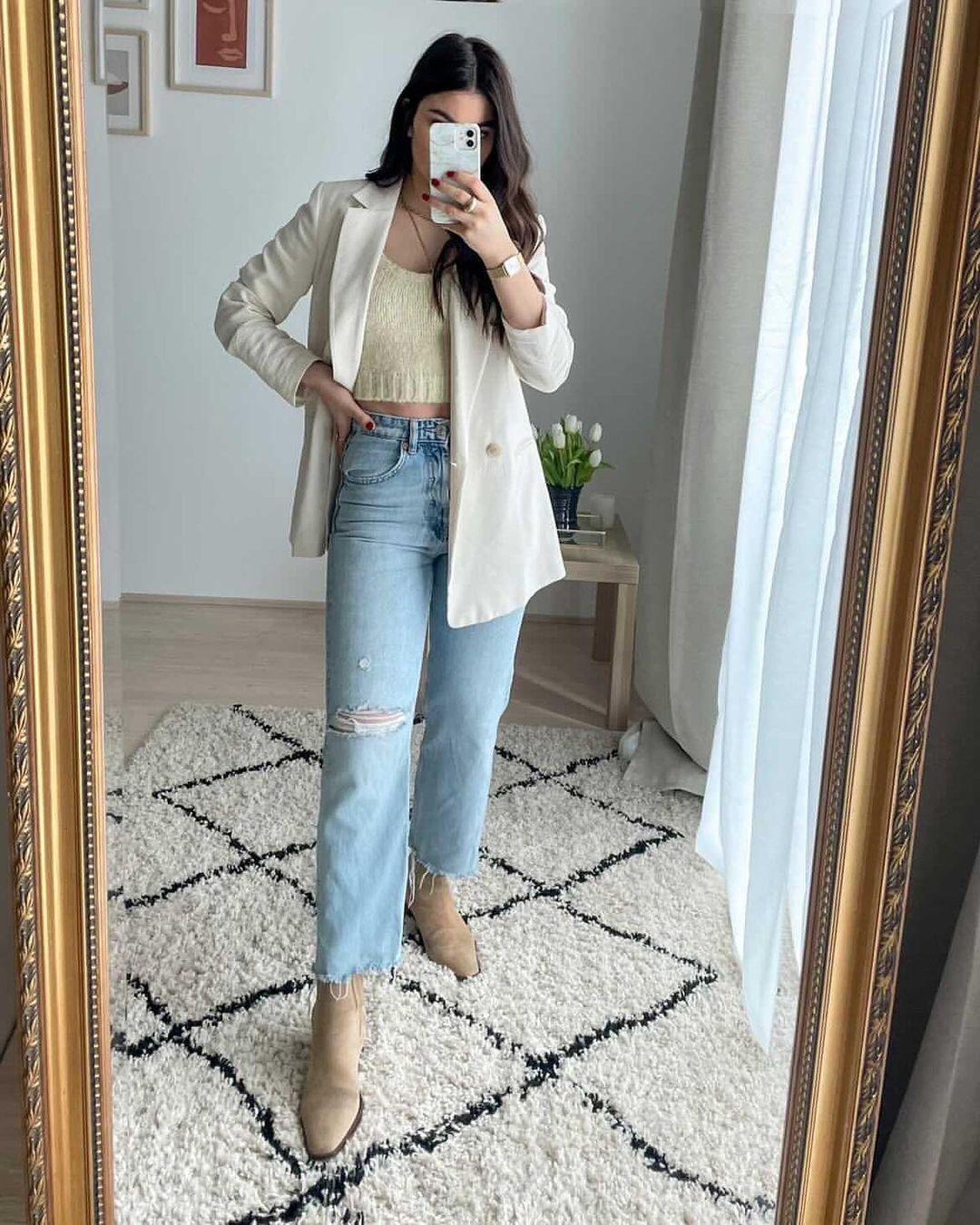 z1975 high waist straight ripped jeans de Zara sur zarastreetstyle