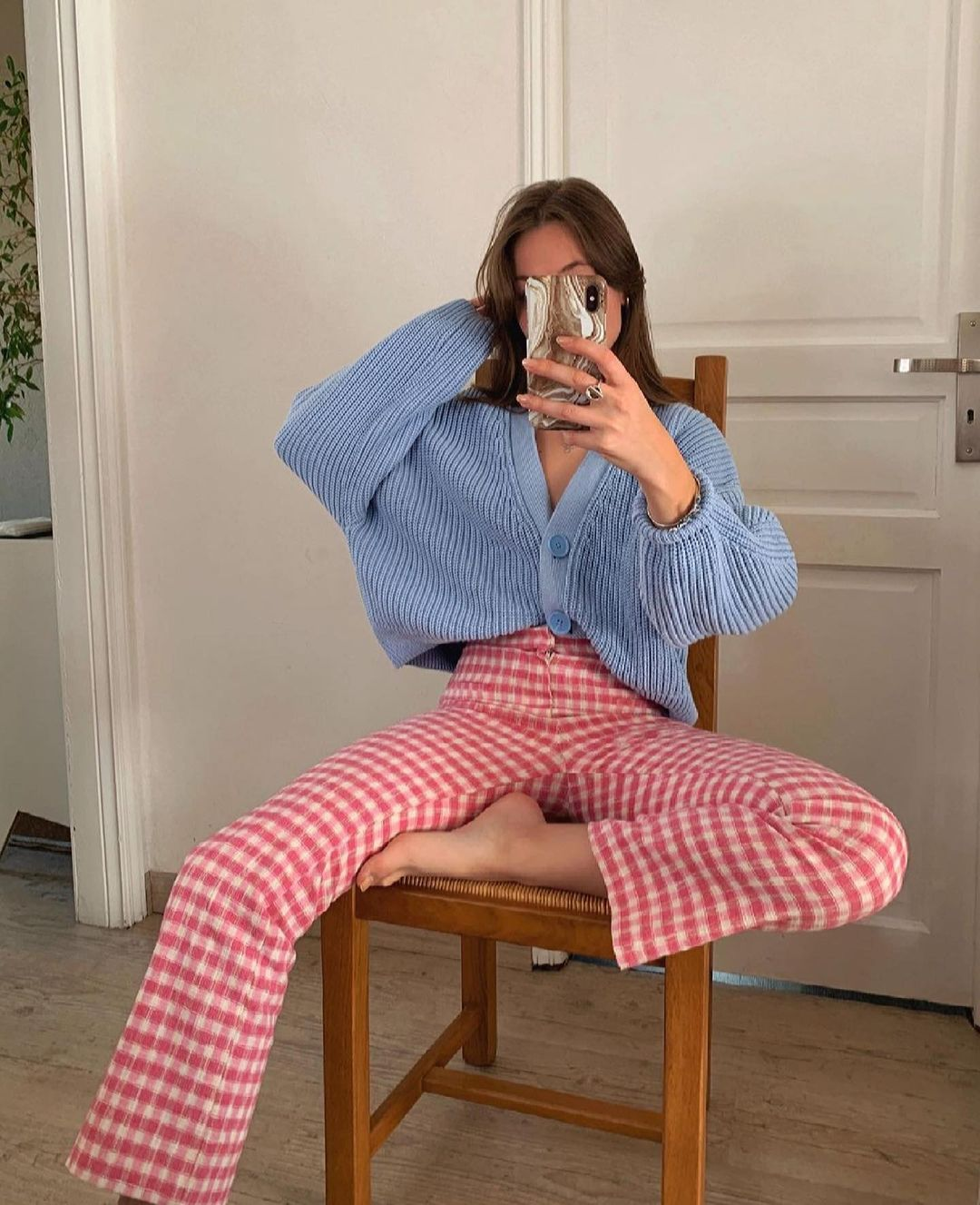 pantalon mini flare à carreaux vichy de Zara sur zara.outfits