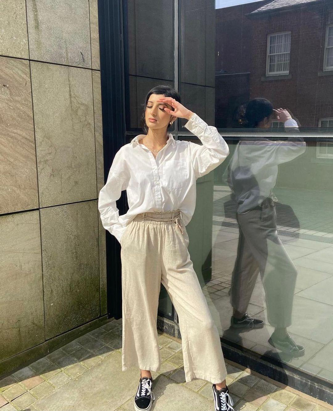 wide linen trousers de H&M sur hm.addicted