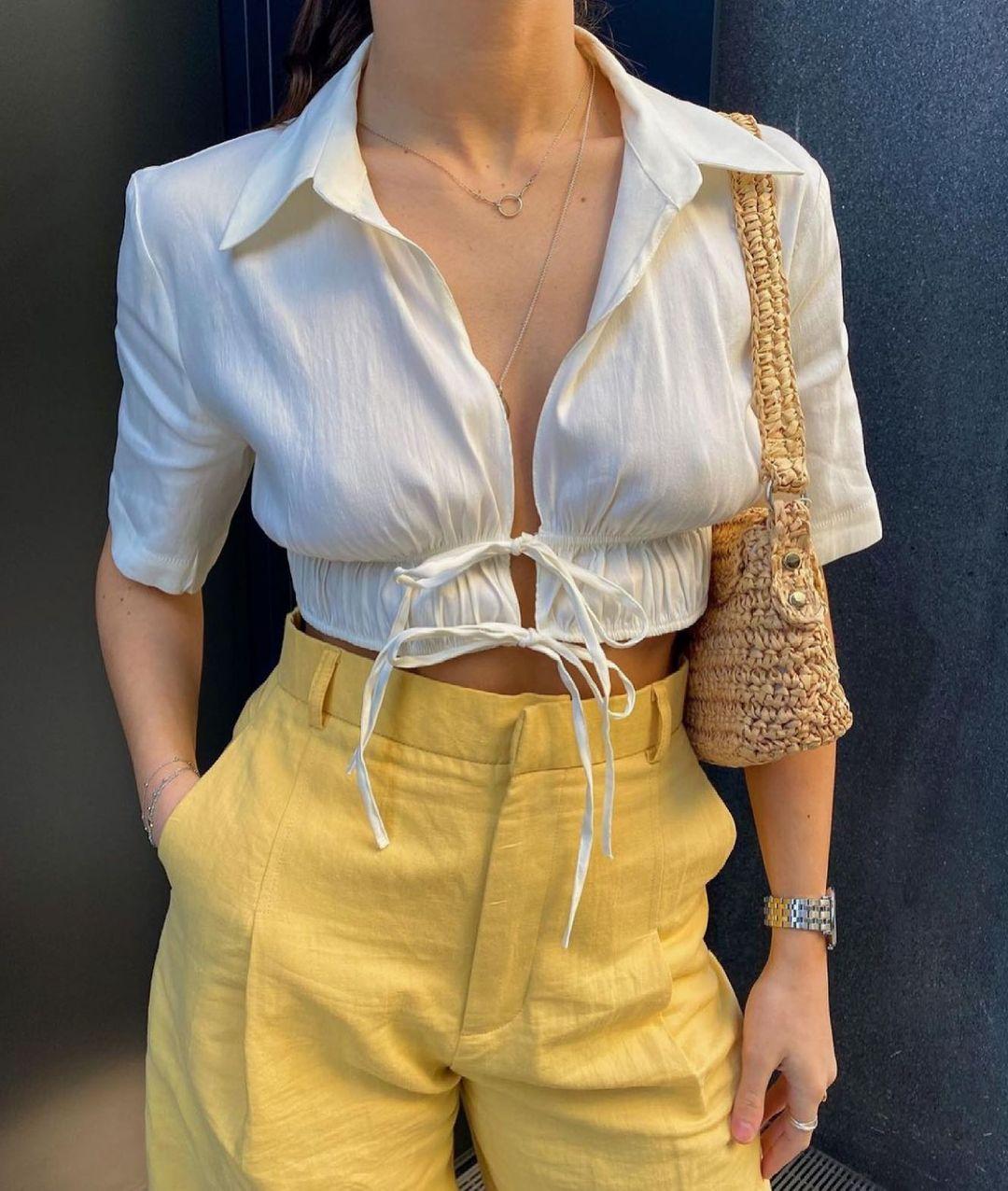 top containing linen with bow de Zara sur zara.style.daily