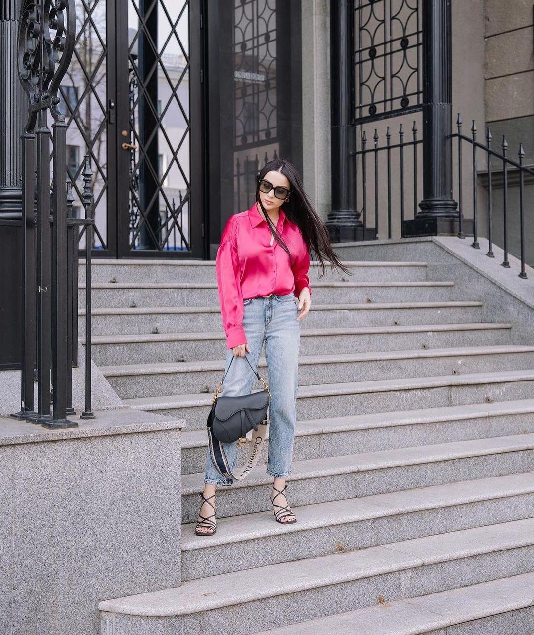 satiny pajama style shirt de Zara sur zarastreetstyle