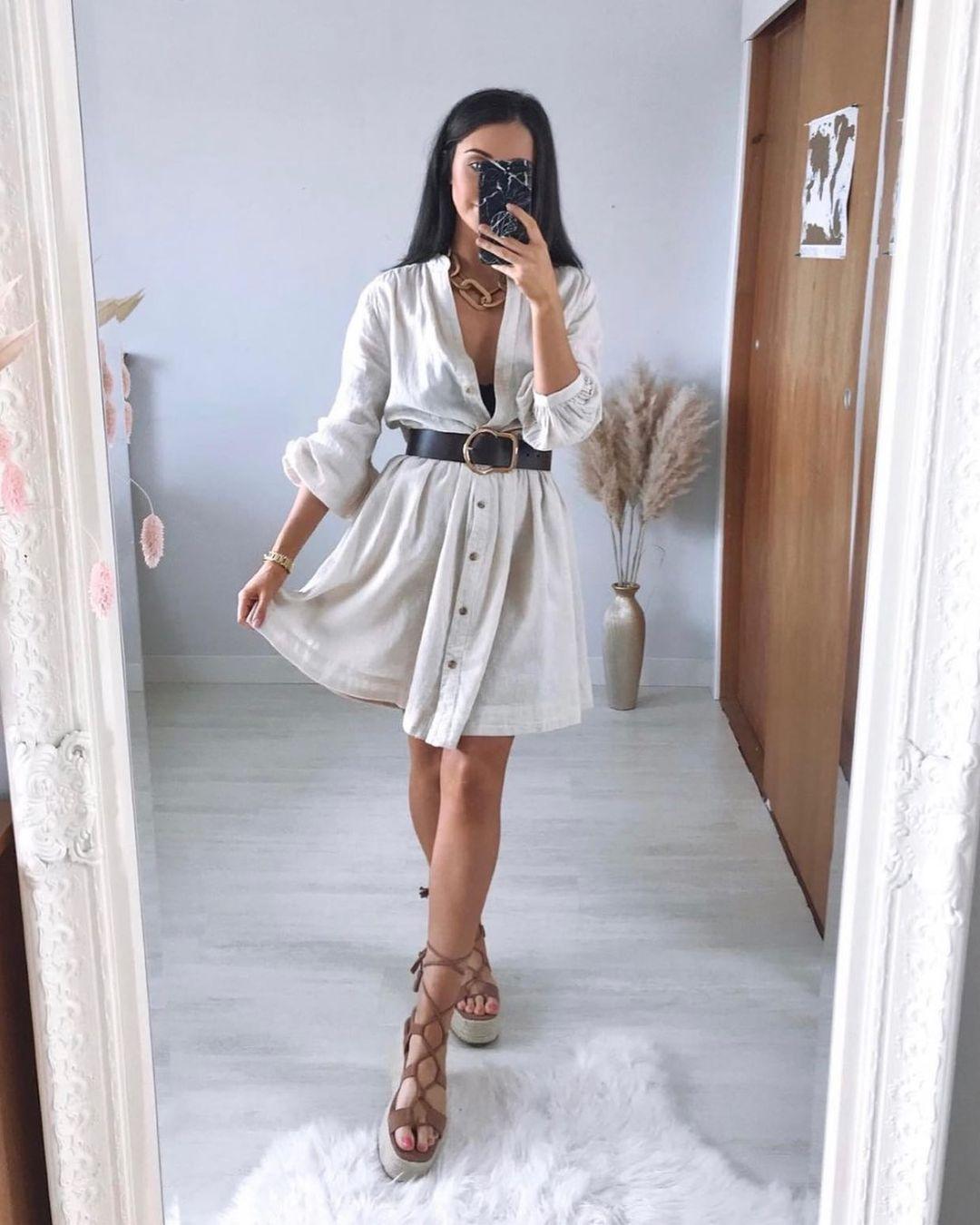 linen-blend dress de H&M sur hm.addicted