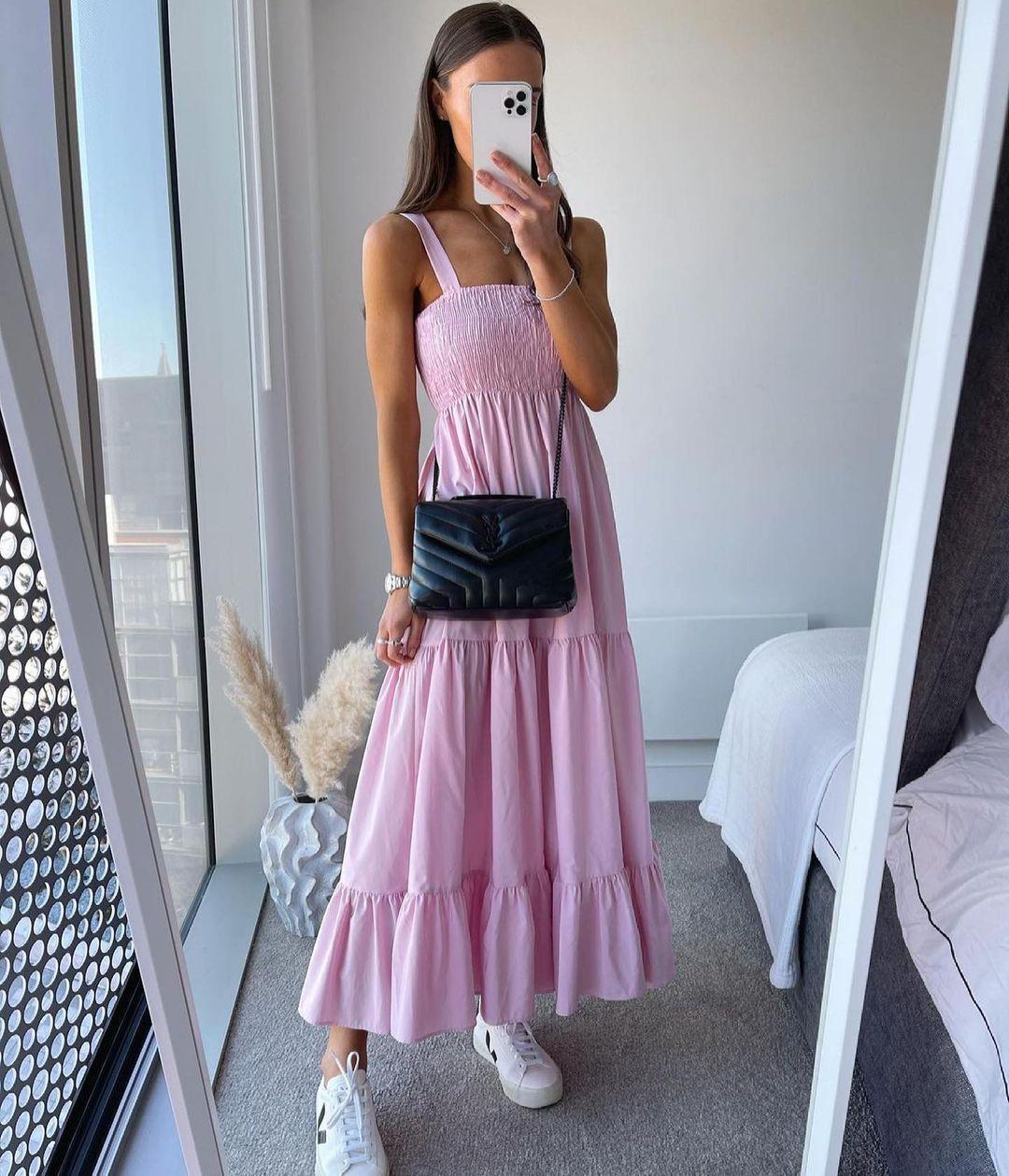 robe mi-longue en popeline de Zara sur zara.outfits