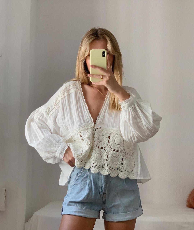 chemise bimatière en crochet de Zara sur zara.outfits