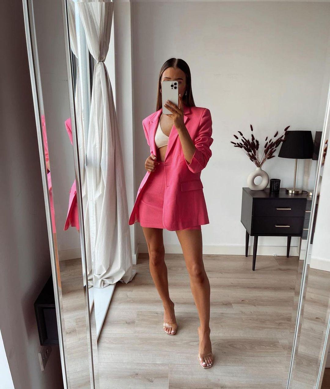 straight fit blazer with pockets de Zara sur zaraaddiction