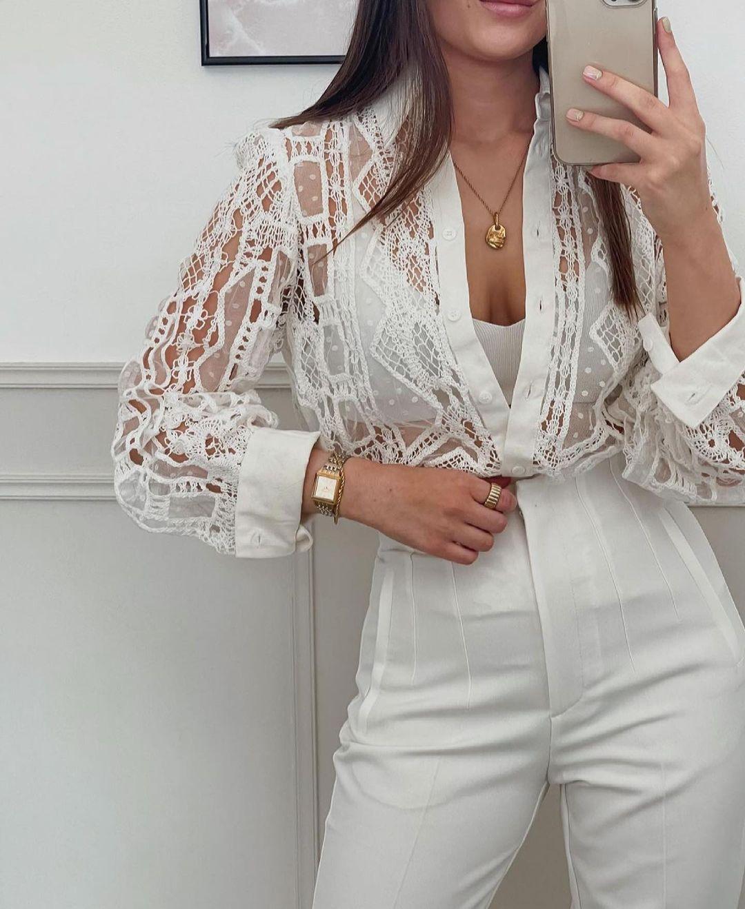 chemise en crochet avec lin de Zara sur zara.outfits