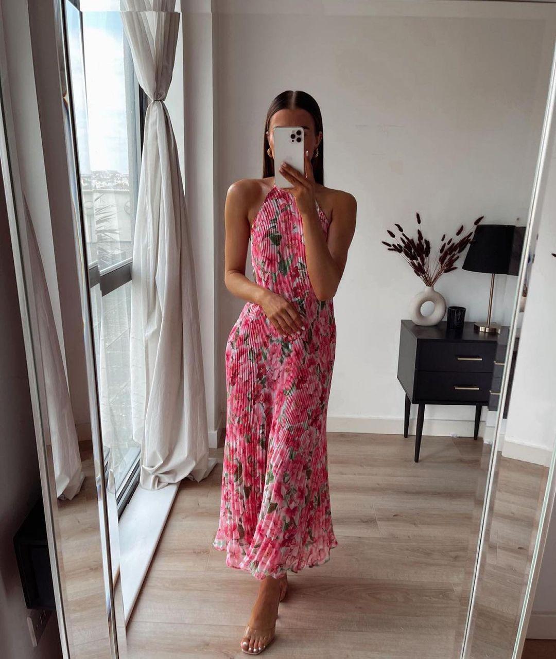 floral print pleated dress de Zara sur zaraaddiction