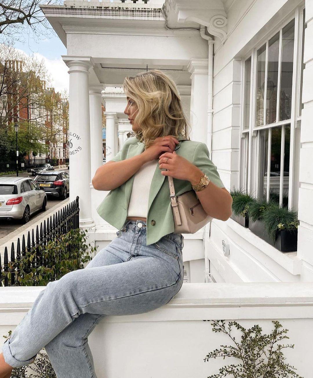 blazer cropped avec lin de Zara sur zara.outfits