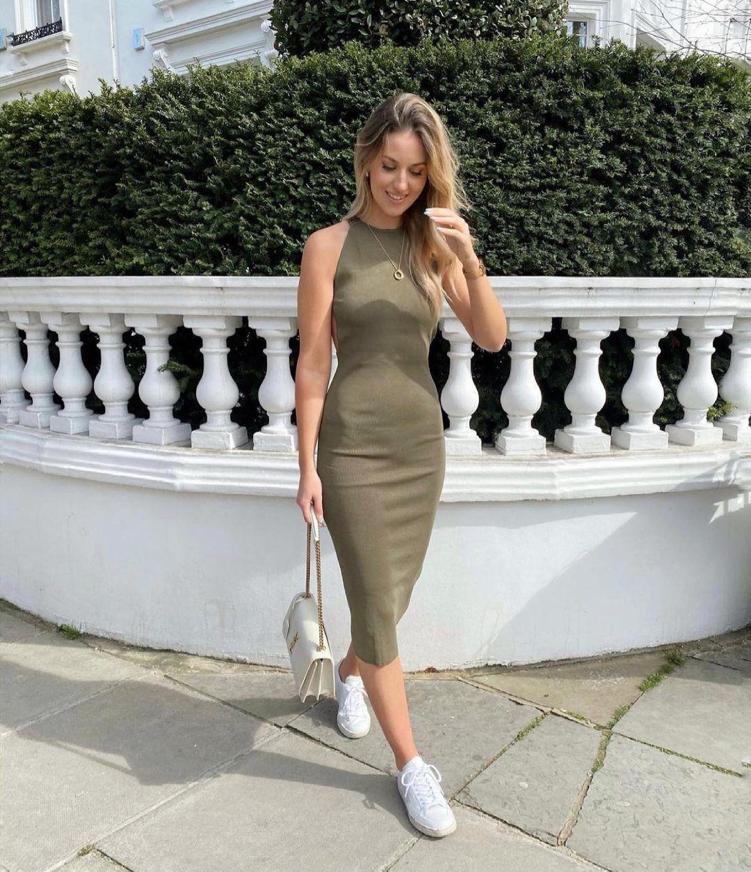 knit mid-length dress de Zara sur zaraaddiction