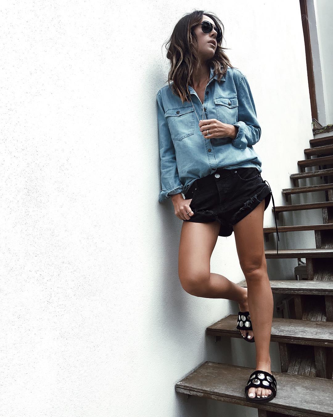 short en jean déchiré de Zara sur looknatamelie