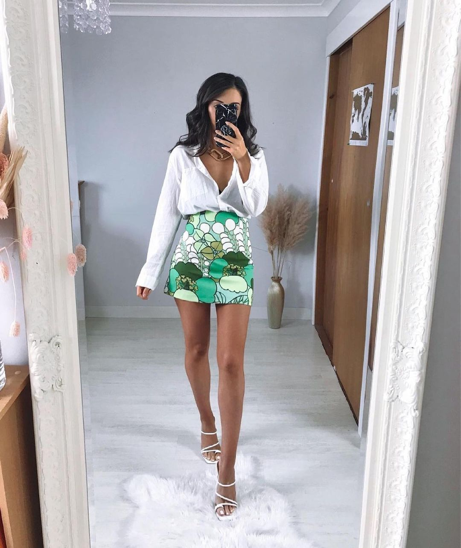 printed dress with scrunchie de Zara sur zara.outfits