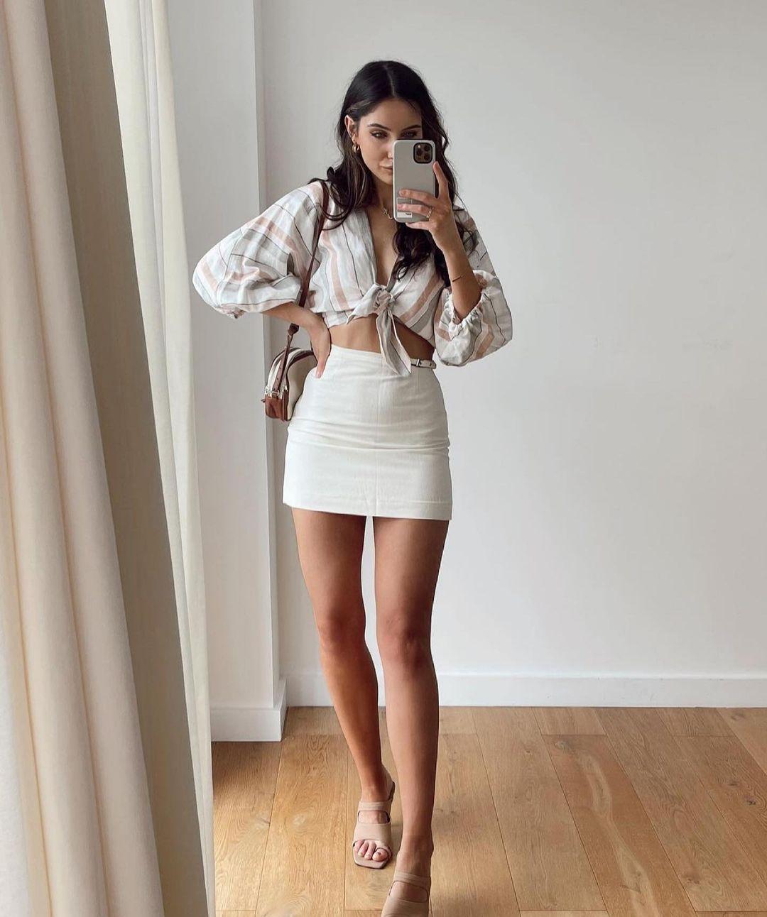 striped top with linen de Zara sur zara.outfits