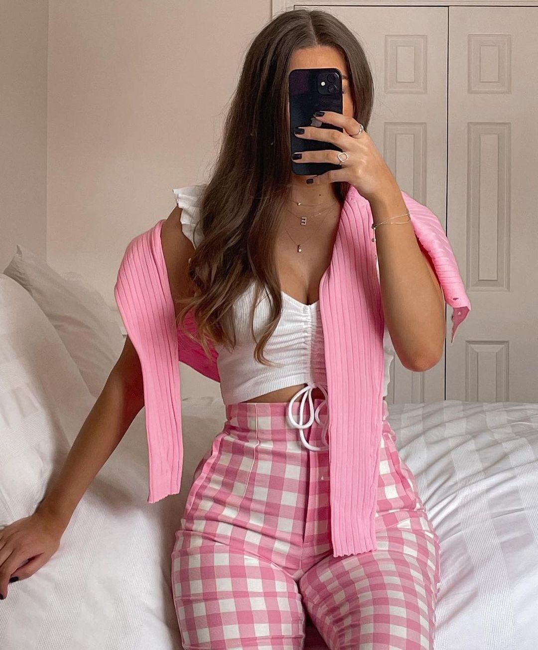 gingham plaid high waisted pants de Zara sur zara.outfits