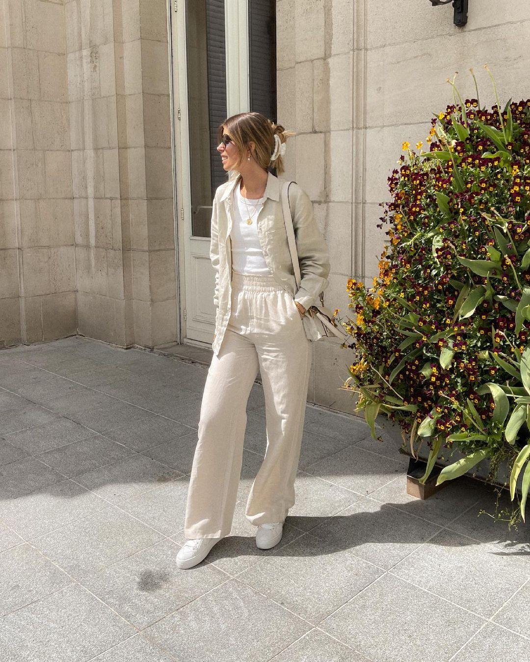 h&m+ pantalon large en satin de H&M sur nooomsworld