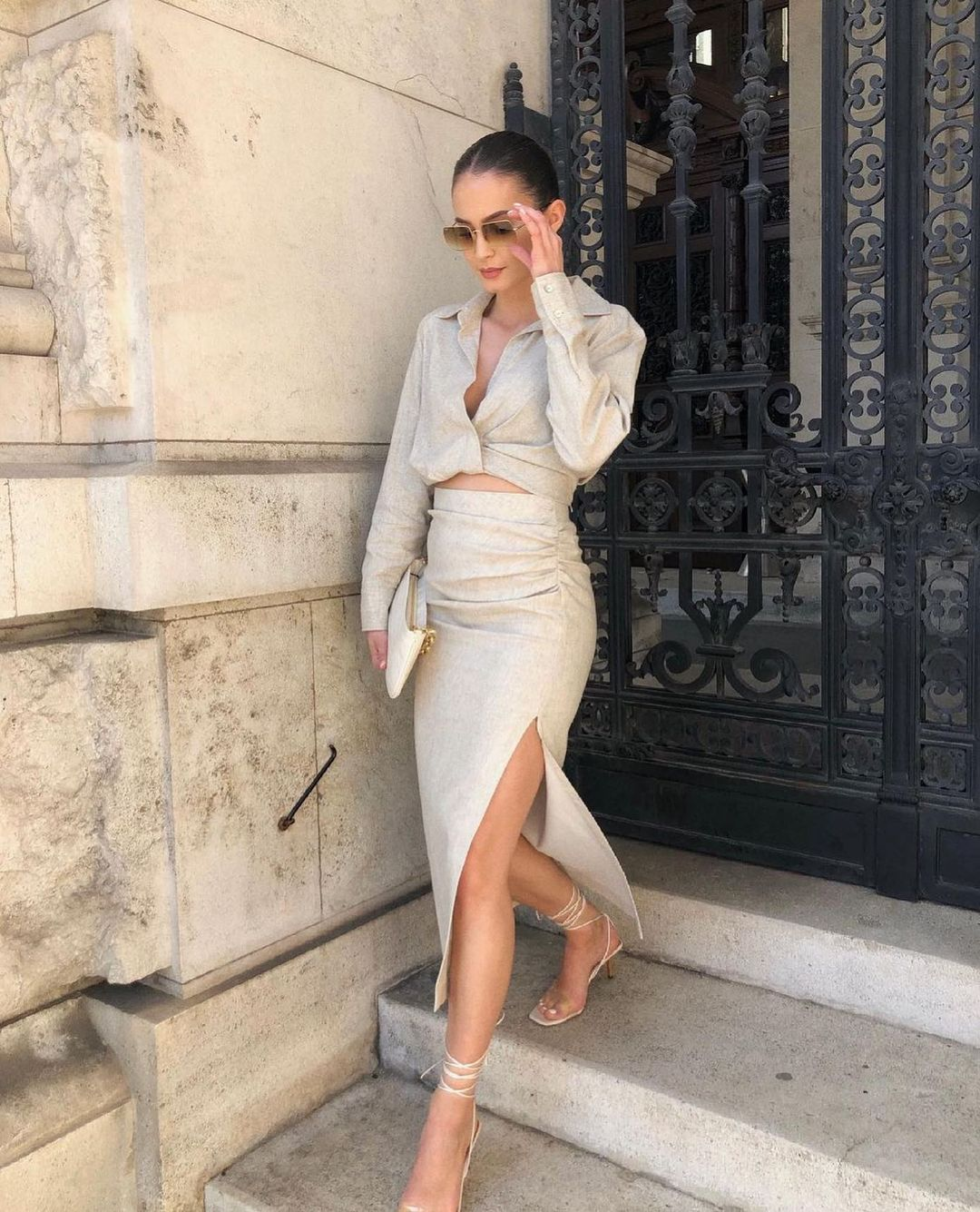 draped mid-length skirt de Zara sur zarastreetstyle