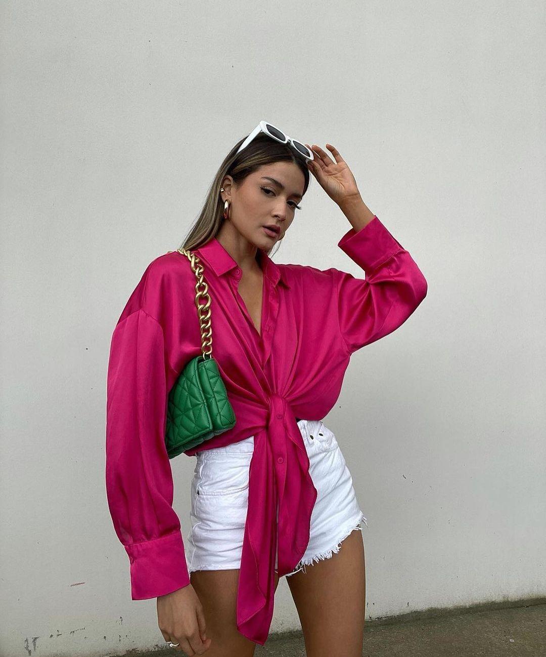 oversized satin shirt de Zara sur zara.outfits