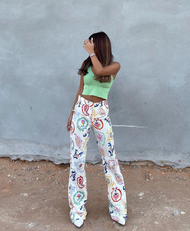 printed flare pants de Zara sur zara.outfits