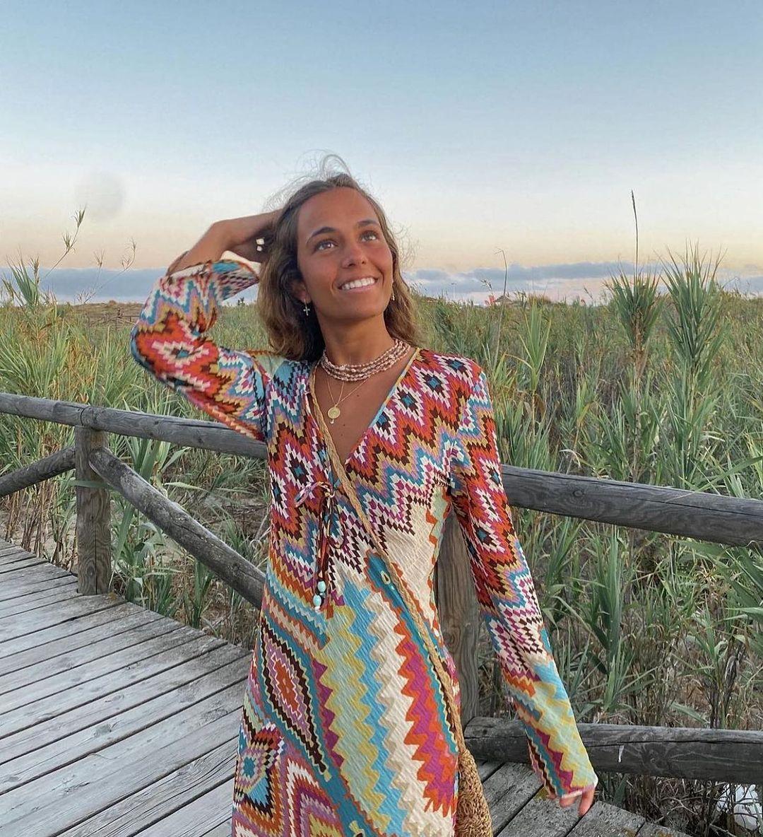 printed long dress de Zara sur zaradiccion__