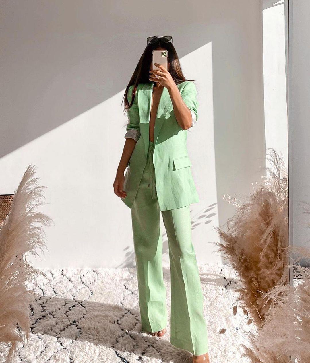 wide trousers with linen de Zara sur zara.outfits