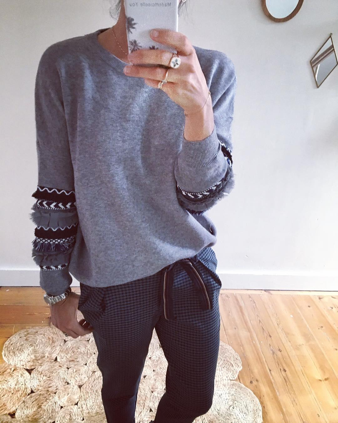 grey frou pullover de Les Bourgeoises sur mademoiselleyoushop