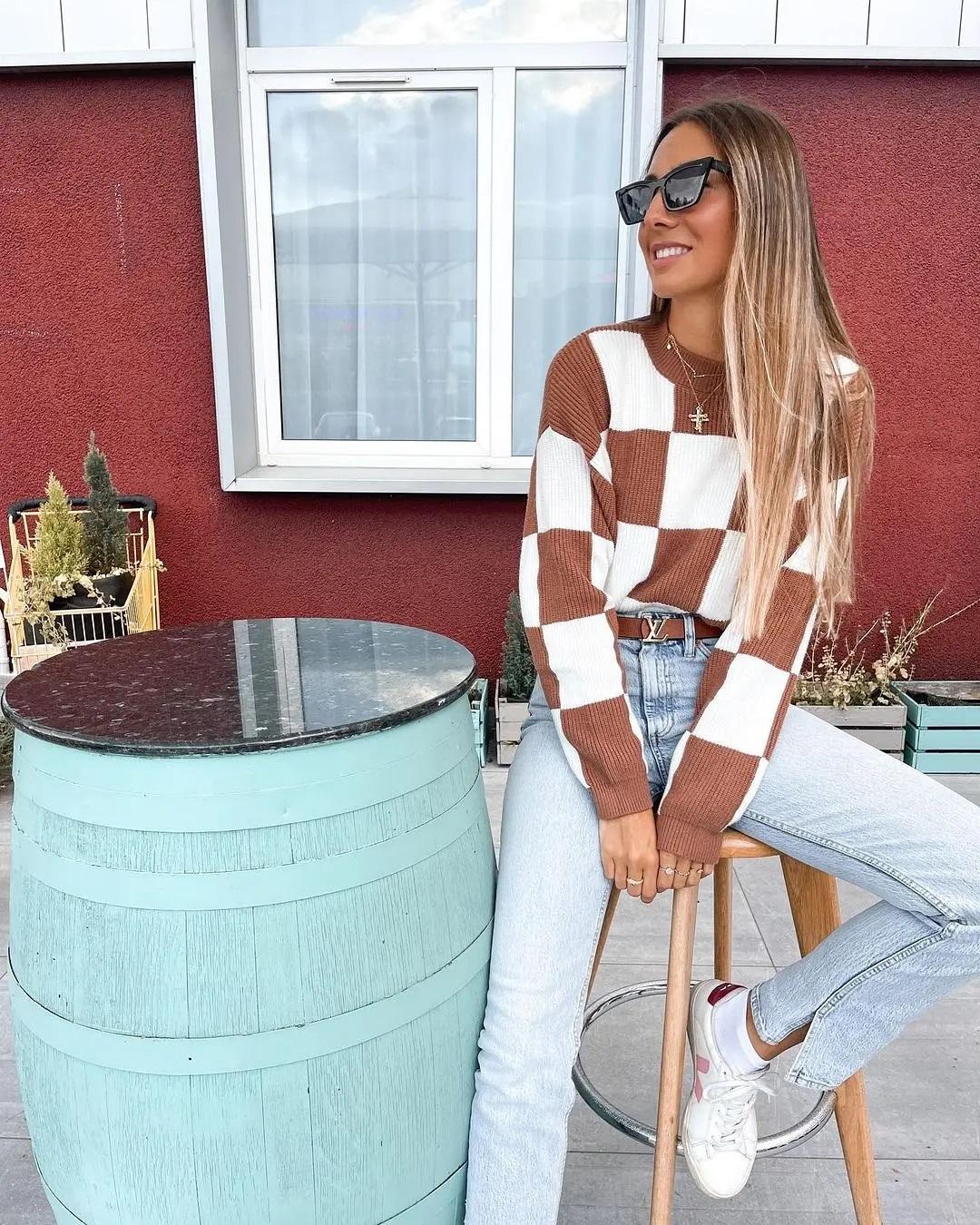 sweater chess de Mango sur mango.outfits