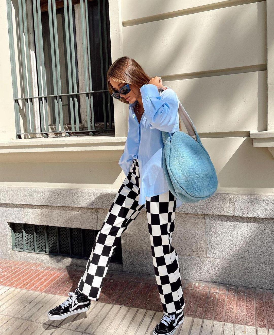 pantalon à imprimé damier de Zara sur zaraaddiction