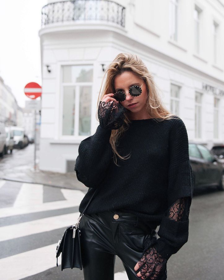 pantalon noir enduit de Les Bourgeoises sur lesbourgeoisesofficiel
