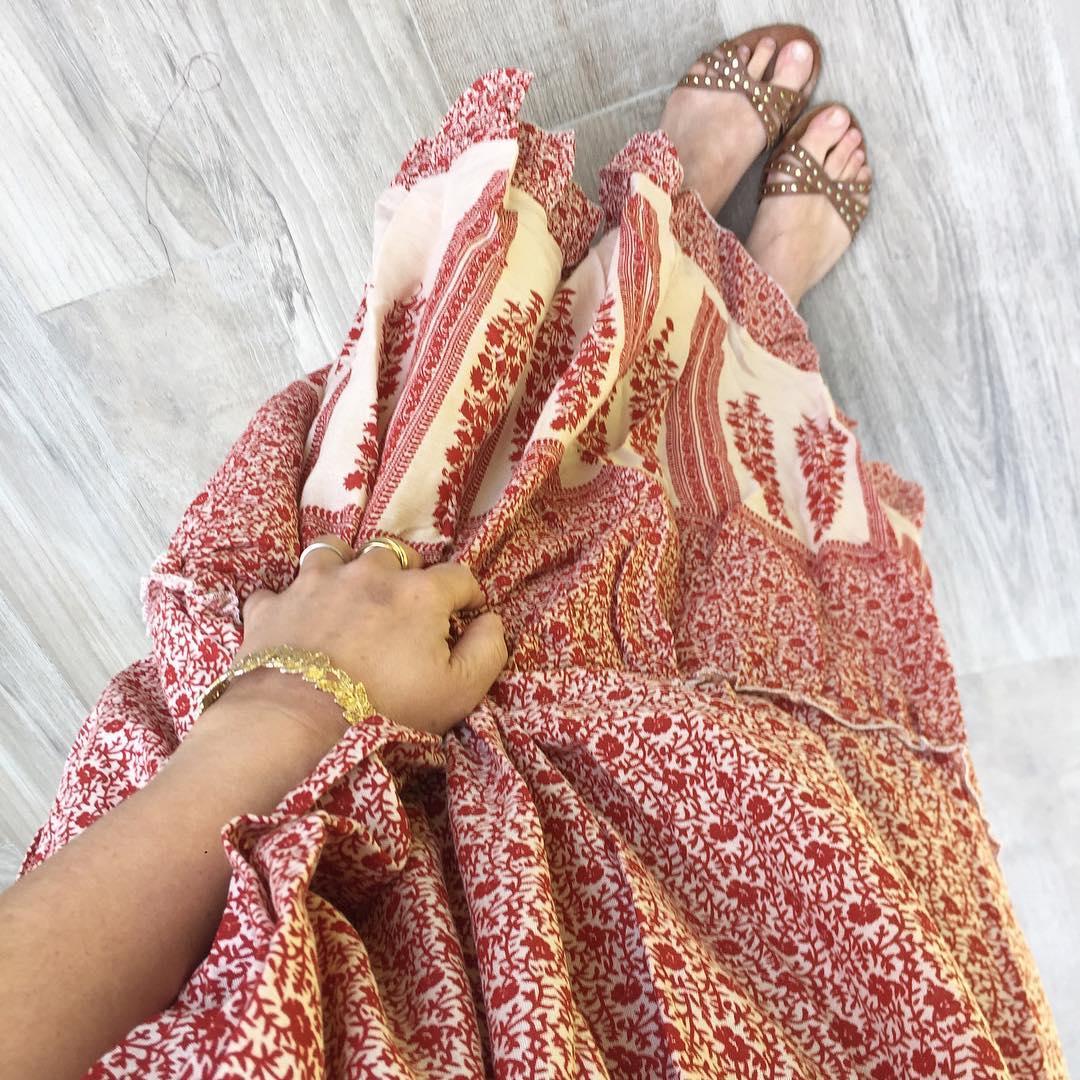 robe longue fleurs rouge de Les Bourgeoises sur ondiamondhill