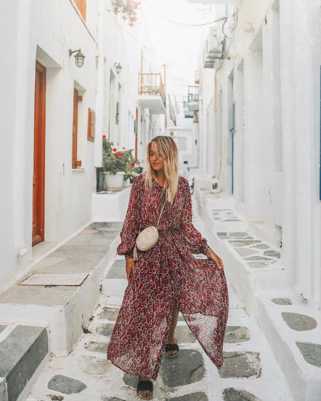 long, leaf-print dress de IKKS sur blondiiebaby