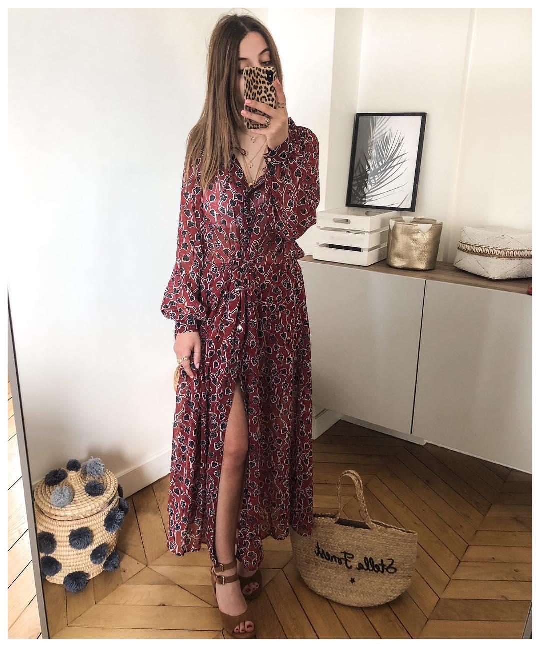 long, leaf-print dress de IKKS sur leosedim