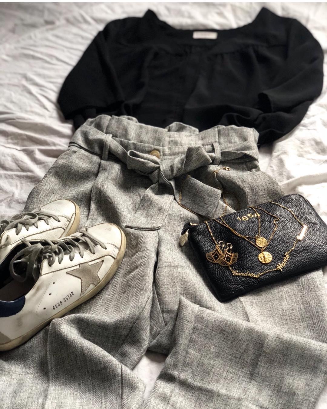 pantalon gris foncé chiné de Les Bourgeoises sur brune.b.b