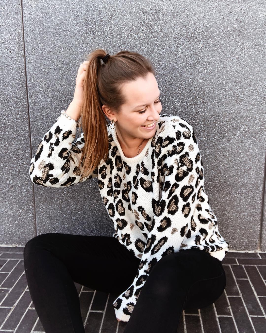 taupe leopard sweater ll de Les Bourgeoises sur jelkegoovaerts