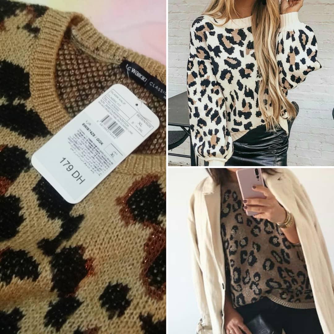 pull taupe leopard ll de Les Bourgeoises sur nouveautes_mode_maroc