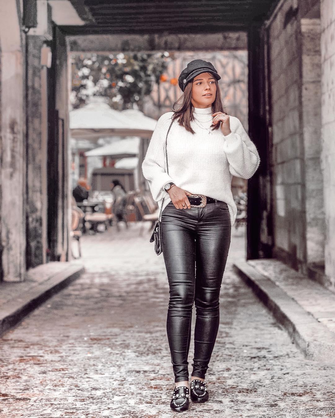 pantalon noir enduit de Les Bourgeoises sur virginiakln