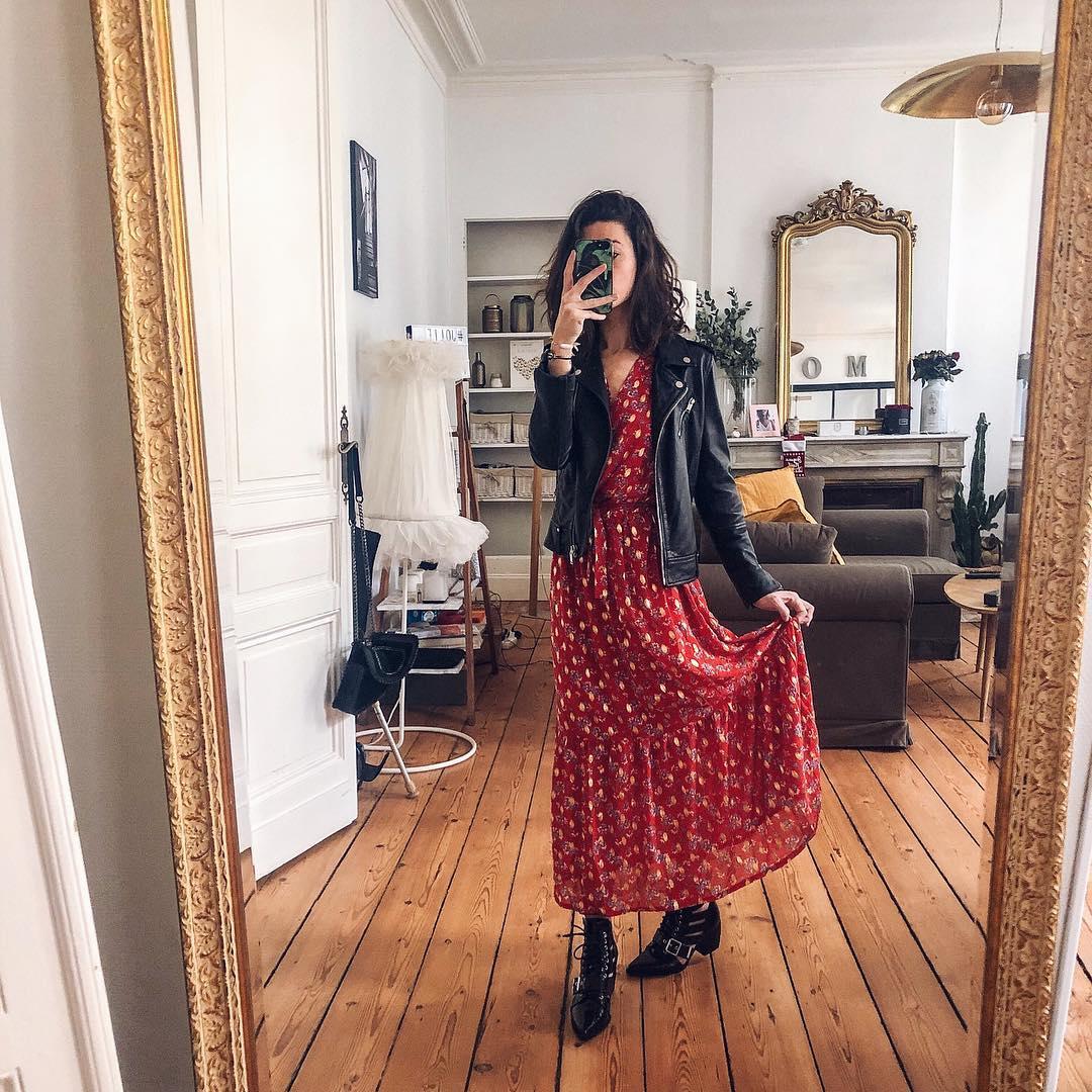 robe rouge  fleurs/or de Les Bourgeoises sur joliependerie